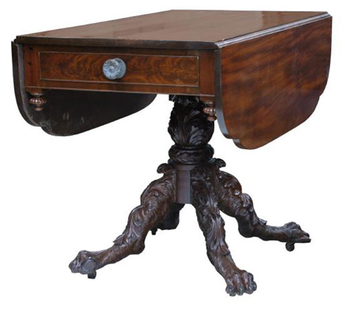 Paw Foot U2013 The Hairy Paw Foot Is An Integral Part Of The Ambiance Of This  Empire Drop Leaf Table.