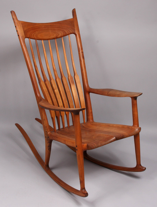 Lovely Signed, Numbered And Dated On Base, The Sam Maloof Teakwood Rocking Chair  Crept Above