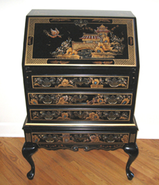 Attractive A Nice Scale Queen Anne Desk On Frame Decorated In Chinoiserie Style By  Maddox. Fred