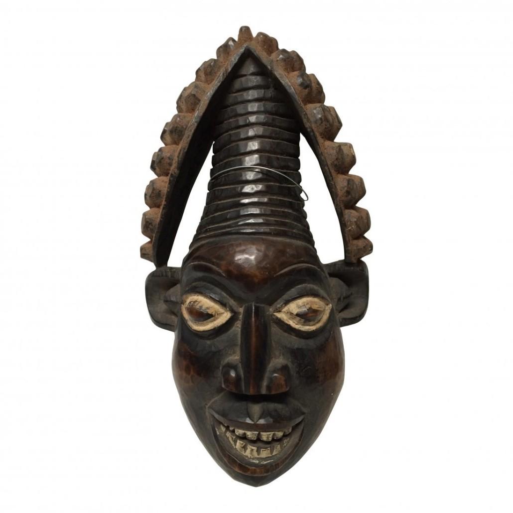 Large carved wood Bamileke mask from Cameroon, est. $500-$600. Jasper52 image