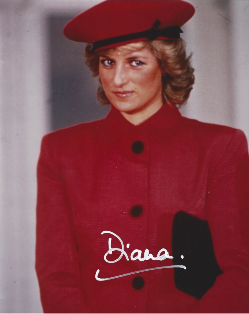 Signed poster of Diana, Princess of Wales, 8 x 9.75 inches, est. $750-$1,000