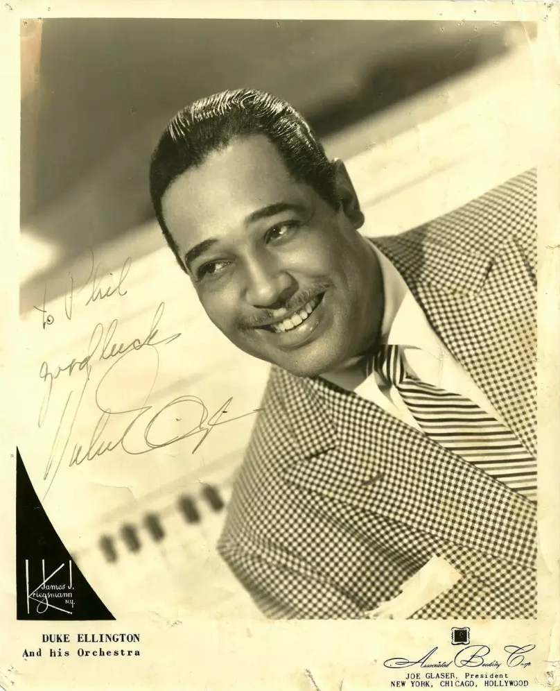 Poster of jazz pianist and bandleader Duke Ellington, signed and inscribed, 8 x 10 inches, est. $300-$400