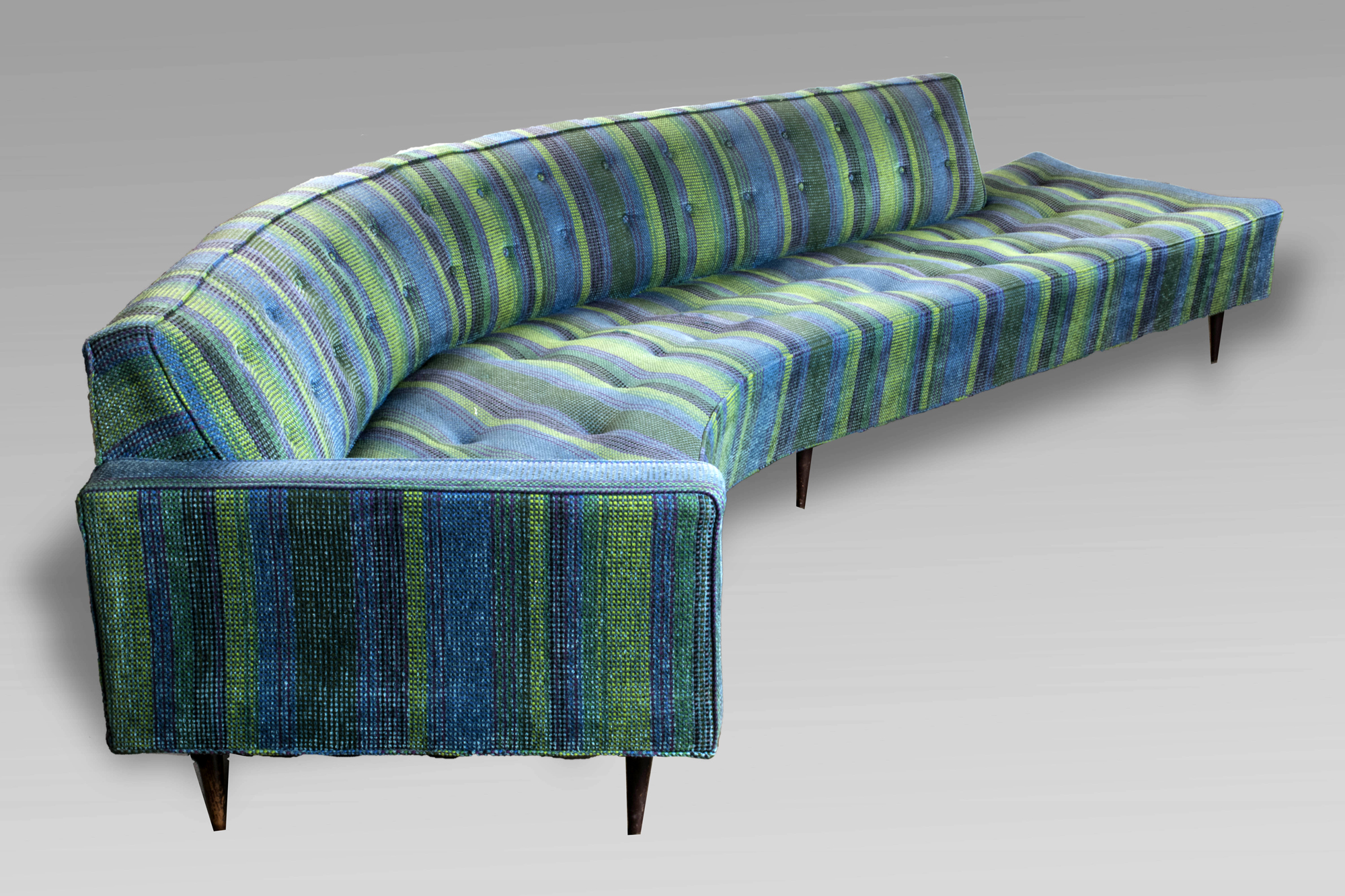 Mid century modern sofa asymmetrical design with one arm tapered legs blue