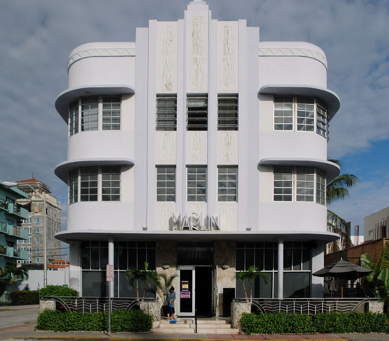 An Art Deco masterpiece, the Marlin Hotel on Collins Avenue, Miami Beach, was built in 1939 by architect Lawrence Murray Dixon. It is one of many Art Deco buildings that were lavishly restored to their original glory during Miami's renaissance. Photo by Alexf, licensed under the Creative Commons Attribution-Share Alike 3.0 Unported license.