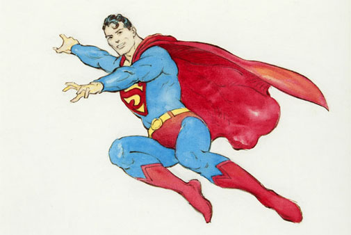 Frank Frazetta (American, 1928-2010), Superman specialty original art, 1988, 15.6 x 17.5 inches, only depiction of Superman ever created by the legendary fantasy artist. Franco Toscanini collection. Sold for $35,420. Image courtesy of Hake's Americana
