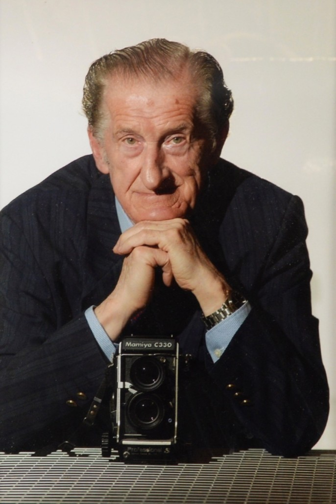 Harry Goodwin, a self-portrait. The Mamiya camera is also in the sale. Photo Ewbank's auctioneers