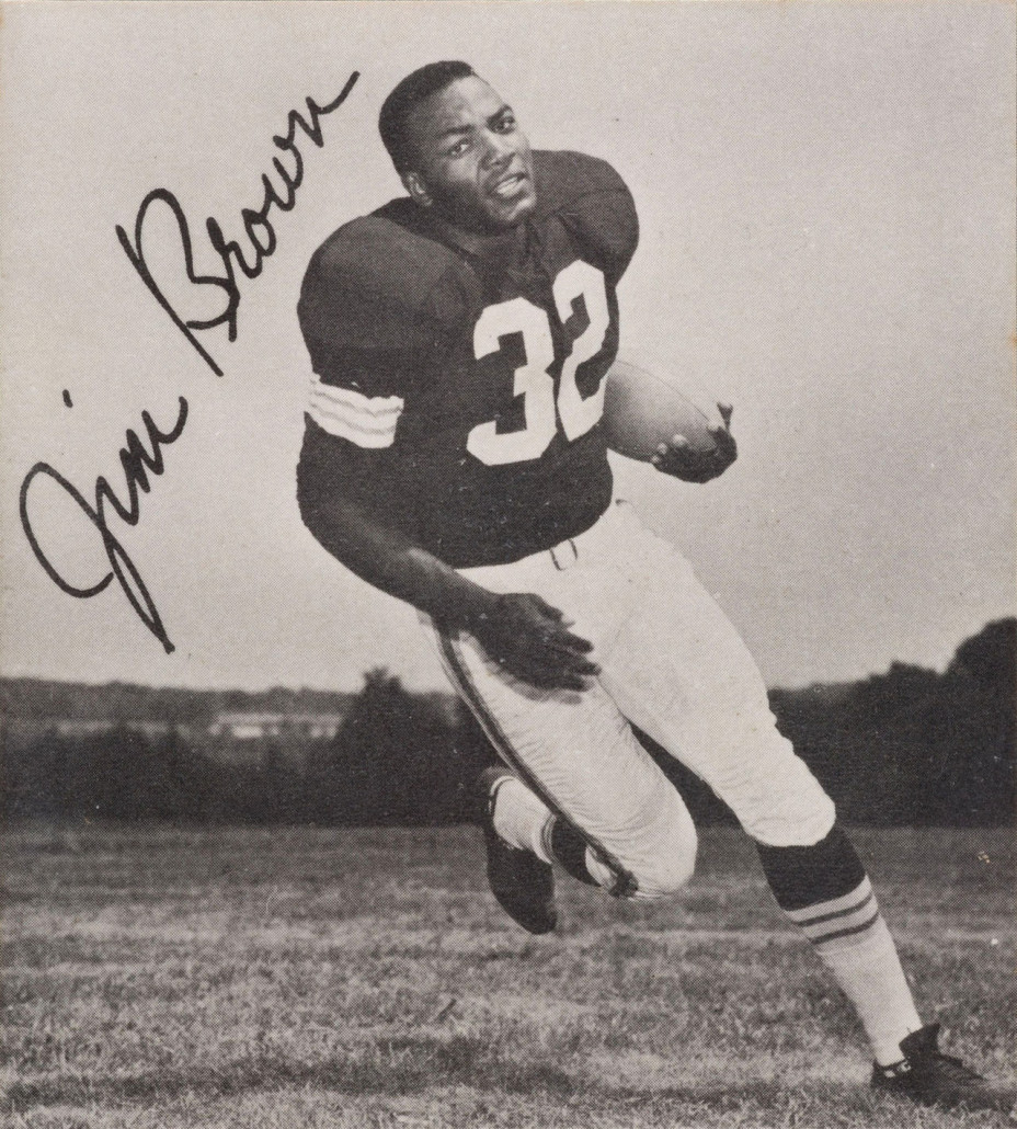 1961 photo of Jim Brown while playing for the Cleveland Browns. Public domain, photo sourced from Heritage Auctions