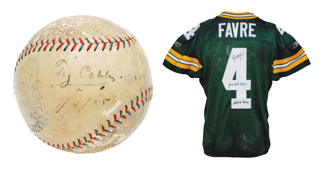 The Ty Cobb game-used and signed home run baseball and Brett Favre's game-used Green Bay Packers jersey from his final regular season game at Lambeau Field. Grey Flannel Auctions image