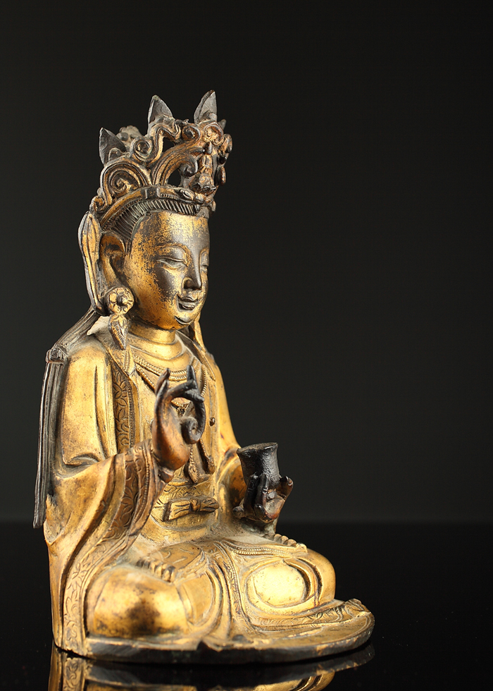 Antique Chinese gilt bronze Buddha, heavy, possibly unopened base, contents (if any) unknown. Provenance: California private collection. Est. $1,200-$1,800