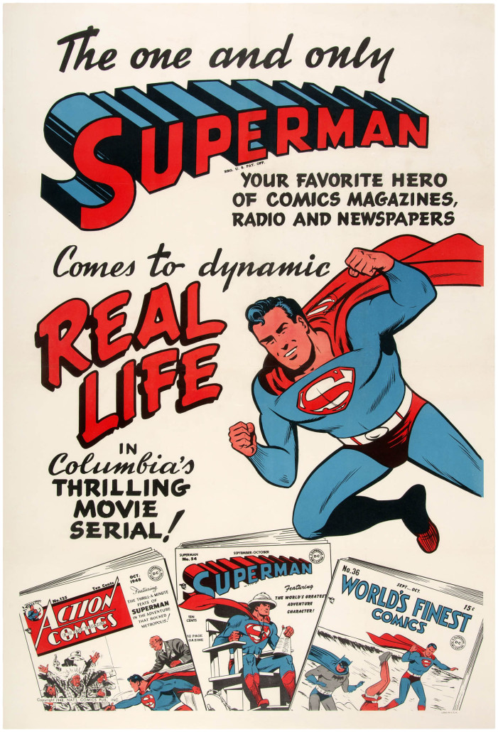 Linen-mounted one-sheet movie serial poster featuring Superman art and comic books, 1948, 28.25 x 41.75 inches. Franco Toscanini collection. Sold for $16,761. Hake's image