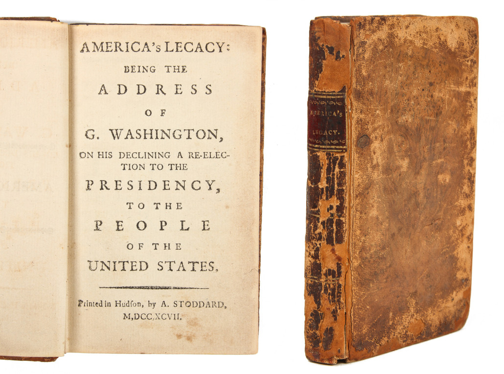 Lot 21 – Rare leather-bound volume of George Washington's 'Address On His Declining A Re-election To The Presidency, A. Stoddard, circa 1797. Estimate: $5,000-$10,000. Material Culture image
