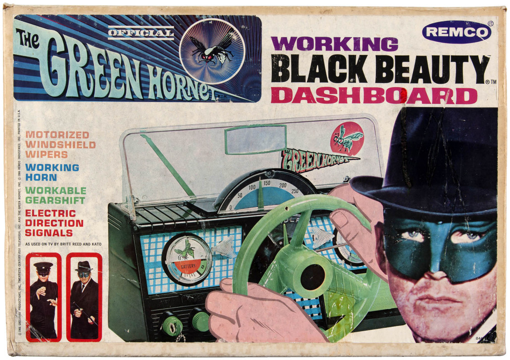 Remco 'Official The Green Hornet working Black Beauty Dashboard,' boxed, copyright 1966. Gary Keller collection. Sold for $14,055. Hake's image