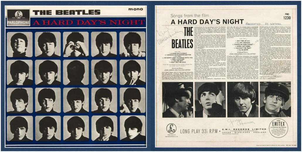 Framed Beatles 'A Hard Day's Night' album cover autographed on verso by all four members of the band, 1964, LOA from renowned Beatles handwriting authority Frank Caiazzo and COA from Hake's, $27,781. Hake's image