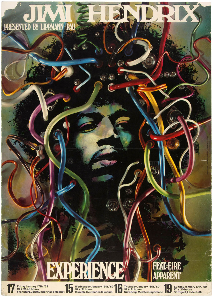 Jimi Hendrix Experience German concert poster, 1969, artwork by Gunther Kieser, 23.5 x 33 inches, $6,600. Hake's image