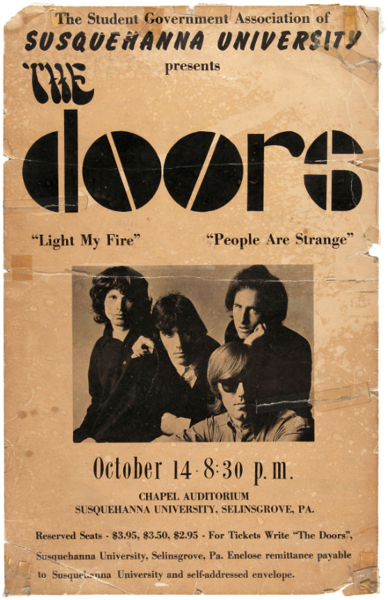 The Doors concert poster for 1967 show at Susquehanna University, Selinsgrove, Pa.; 14 x 22 inches, $9,336. Hake's image