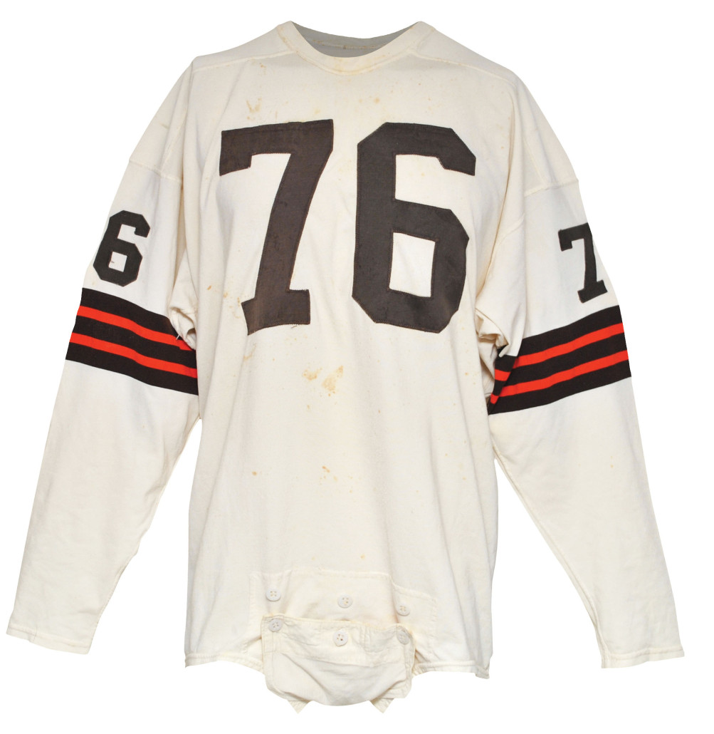 Cleveland Browns road jersey game-worn by Hall of Famer Lou 'The Toe' Groza. Grey Flannel Auctions image