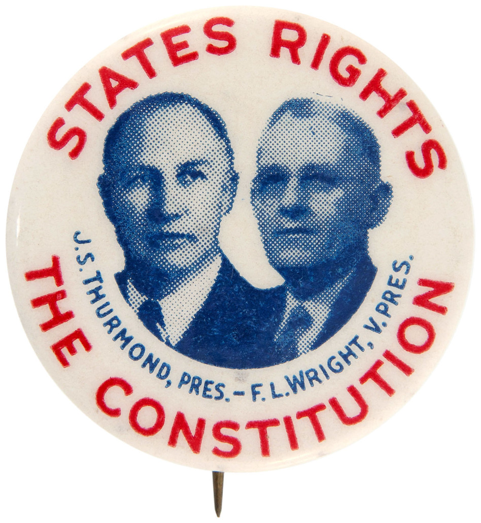 Important 1948 jugate promoting States Rights Democratic Party's presidential and vice-presidential candidates Strom Thurmond and F.L. Wright, $7,653. Hake's image