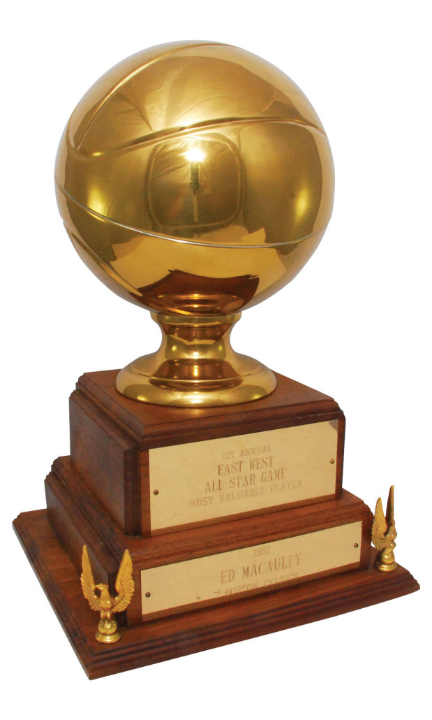 MVP trophy awarded to Ed Macauley after the first-ever NBA all-star game in 1951. Grey Flannel Auctions image