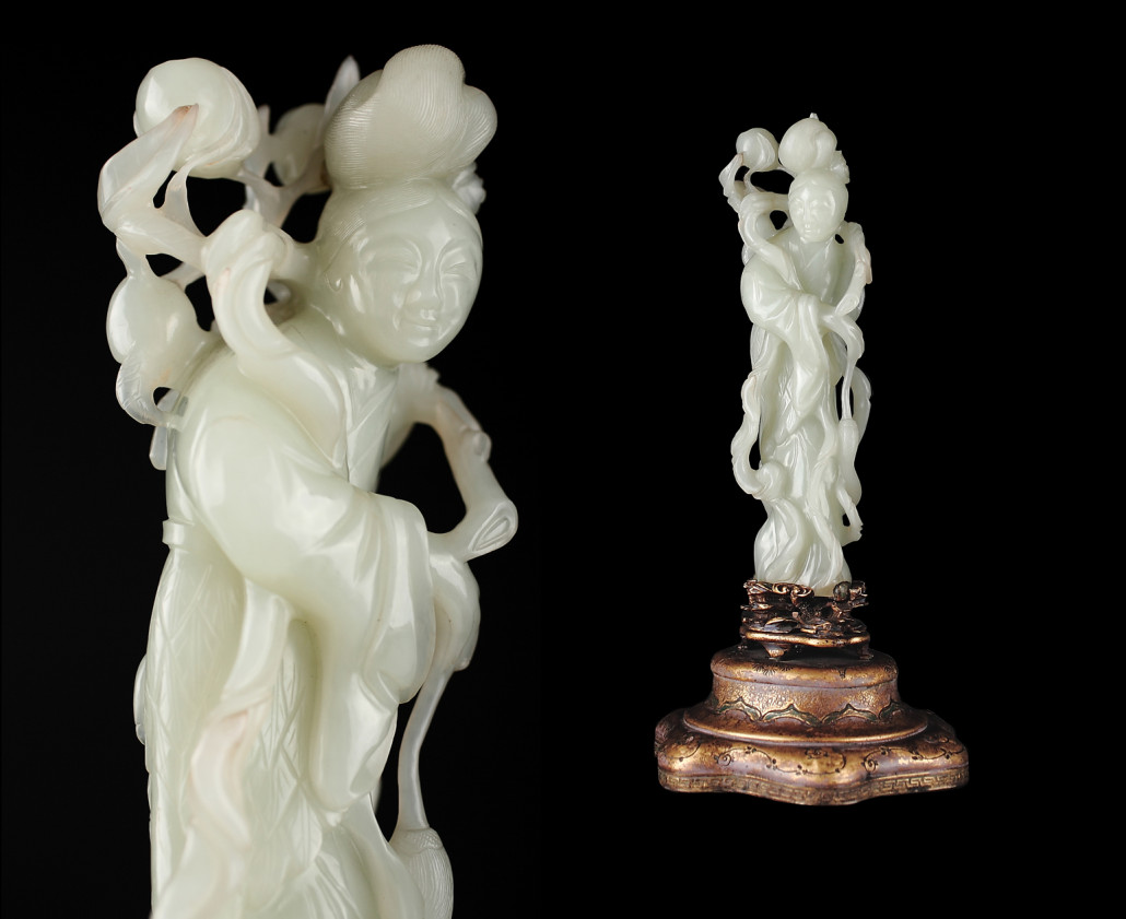 Full-length and close-up views of important Chinese white jade figural study of lady carrying peach branch over shoulder. Provenance: Estate of Sen. William Andrews Clark (1839-1925) and thence by descent; Christie's auction 'The Clark Family, An American Dynasty.' Est. $25,000-$35,000