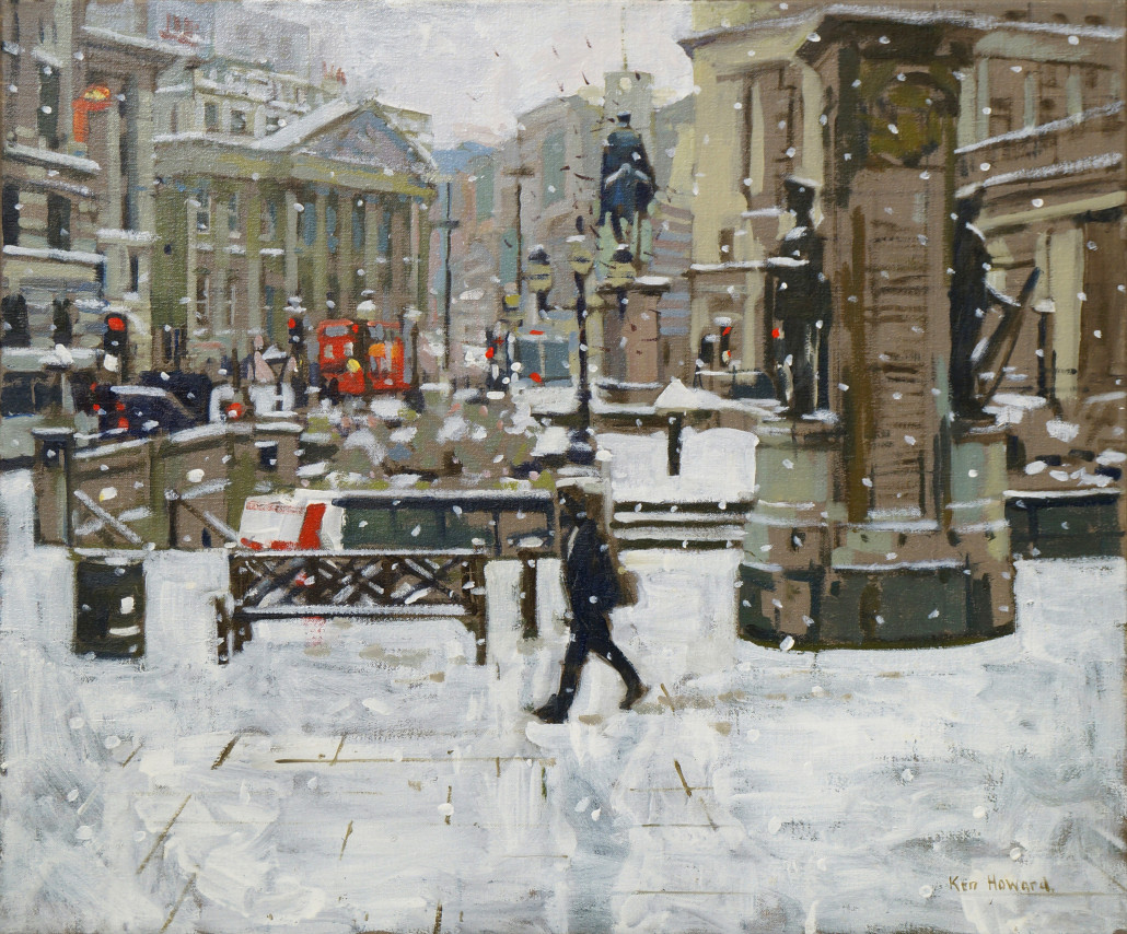 'From the Royal Exchange, Snow Effect' by British artist Ken Howard will be sold on the second day of the auction. Roseberys image