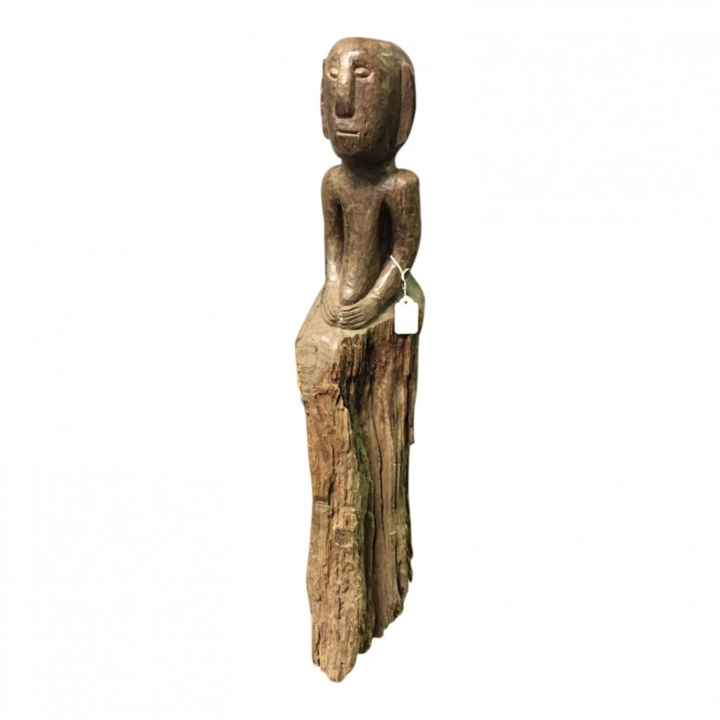 Lot 14 – Nineteenth century bulul statue with long base, 31in tall x 5in wide. $800-$1,000. Last Chance by LiveAuctioneers image