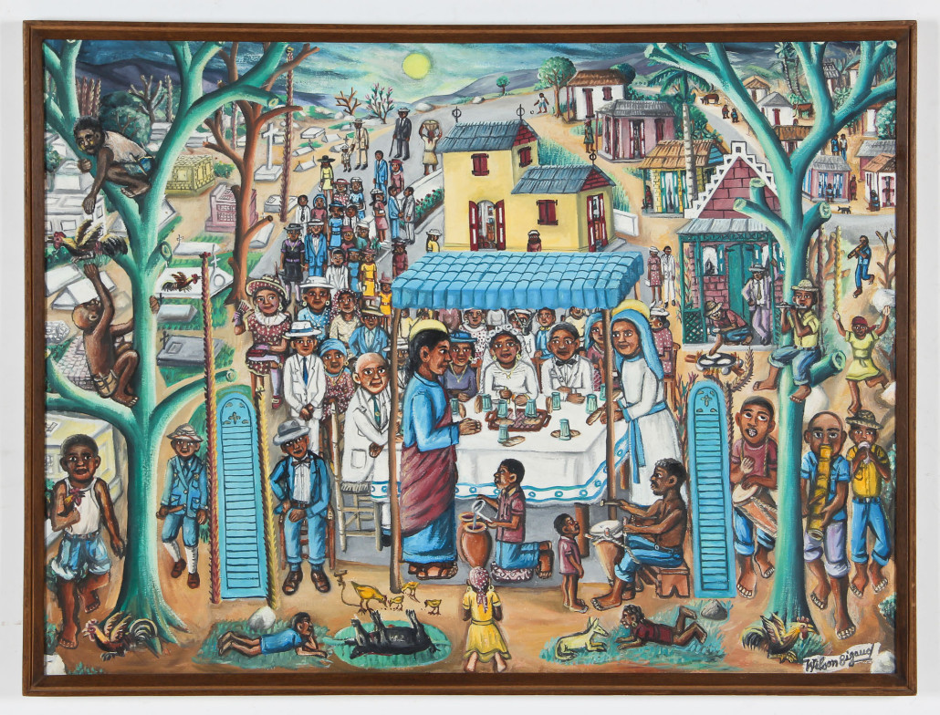 Lot 100 – Wilson Bigaud (Haitian/Port-au-Prince, 1931-2010), 'Marriage at Cana,' 1981, oil painting on canvas, 30.25in x 40.25in, 77cm x 102 cm (stretcher). Estimate: $1,000-$1,500. Material Culture image