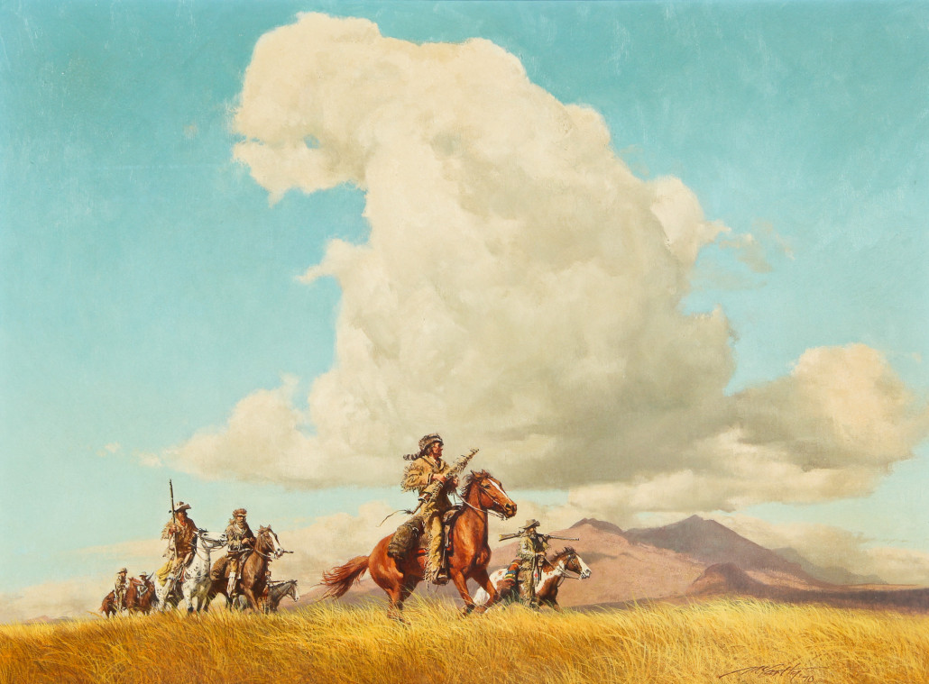Lot 153 – Frank McCarthy (American, 1924-2002), 'On the Way to the Alamo, Davy Crockett and a Few Friends,' 1970, original oil painting on board, 17.75in x 24in, 45 x 61 cm (board). Estimate: $20,000-$30,000. Material Culture image