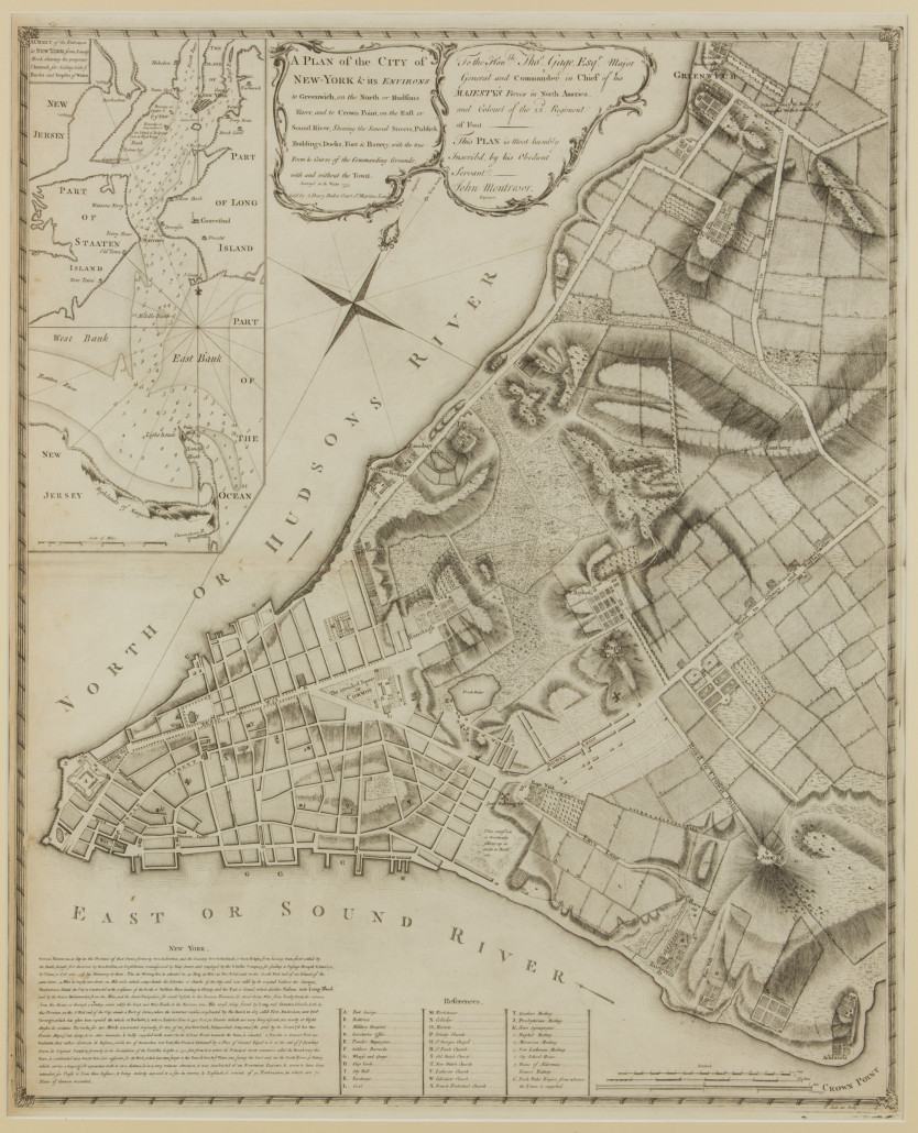 Rare John Montresor 1776 map of New York City. Price realized: $23,000. Jeffrey S. Evans & Associates image.
