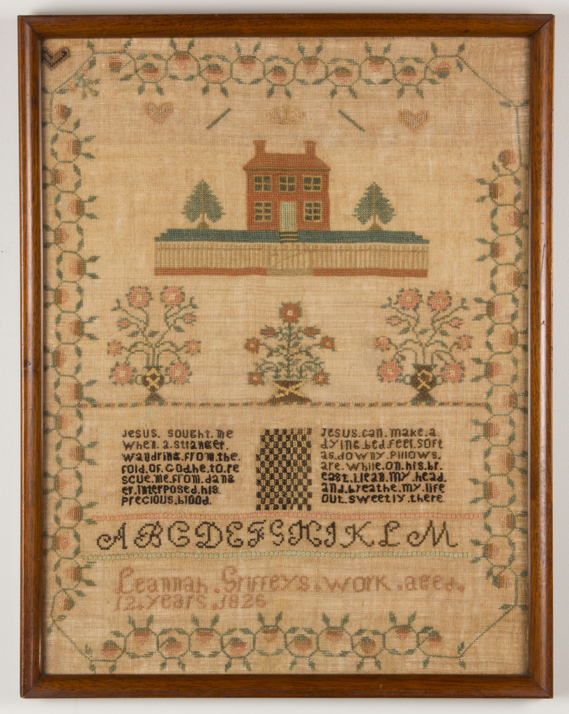 Needlework sampler by Lennah Griffey, Monongalia County, Virginia (now West Virginia), dated 1826, which sold for $21,850. Jeffrey S. Evans & Associates image