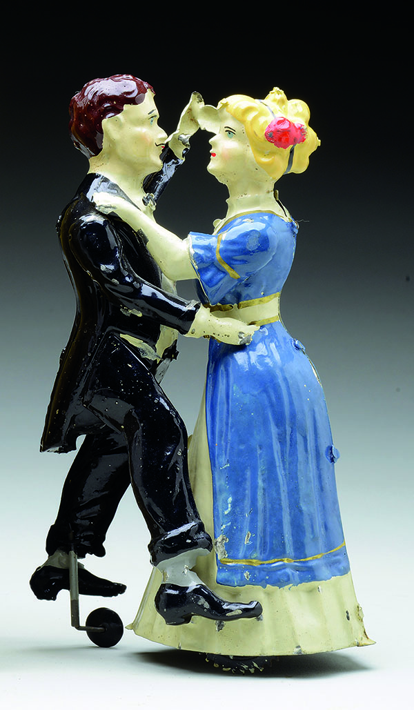 This pair of tin figures can dance across the floor when wound with a key. It was made about 1916, when the tango was the most popular dance. It sold at a June auction for $3,851.