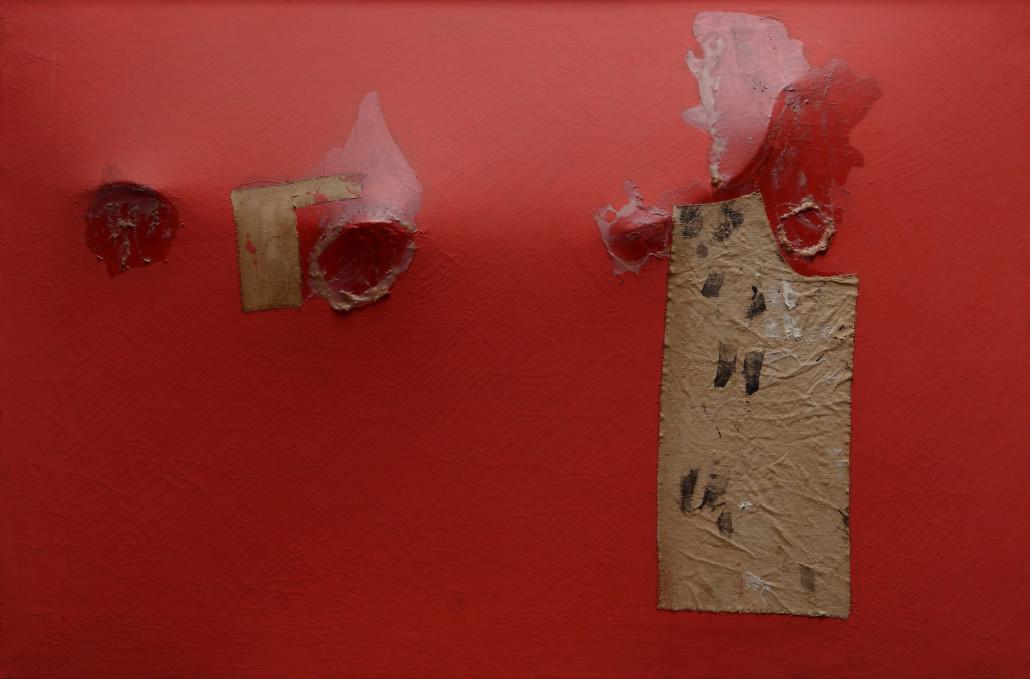 Alberto Burri, Rosso gobbo, 1953, acrilico, tessuto e resina su tela, 56,5 x 85 cm, Private collection, Rome, © Fondazione Palazzo Albizzini Collezione Burri, Città di Castello/2015, Artists Rights Society (ARS), New York/SIAE, Rome