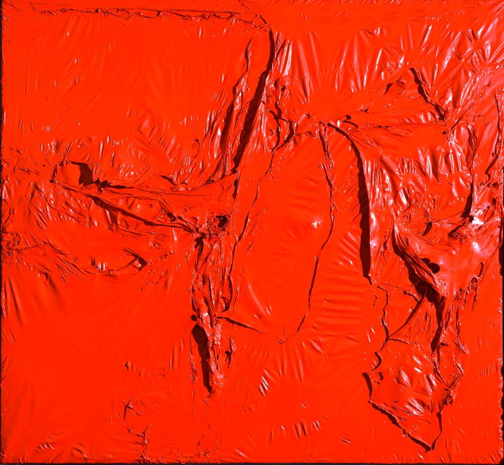 Alberto Burri, Rosso plastica, 1961, Plastic (PVC), acrilico e combustione su plastica (PE) e tessuto nero, 142 x 153 cm, Modern Art Foundation, © Fondazione Palazzo Albizzini Collezione Burri, Città di Castello/2015 Artist Rights Society (ARS), New York/SIAE, Rome, Fotografia: Massimo Napoli, Rome, courtesy Modern Art Foundation