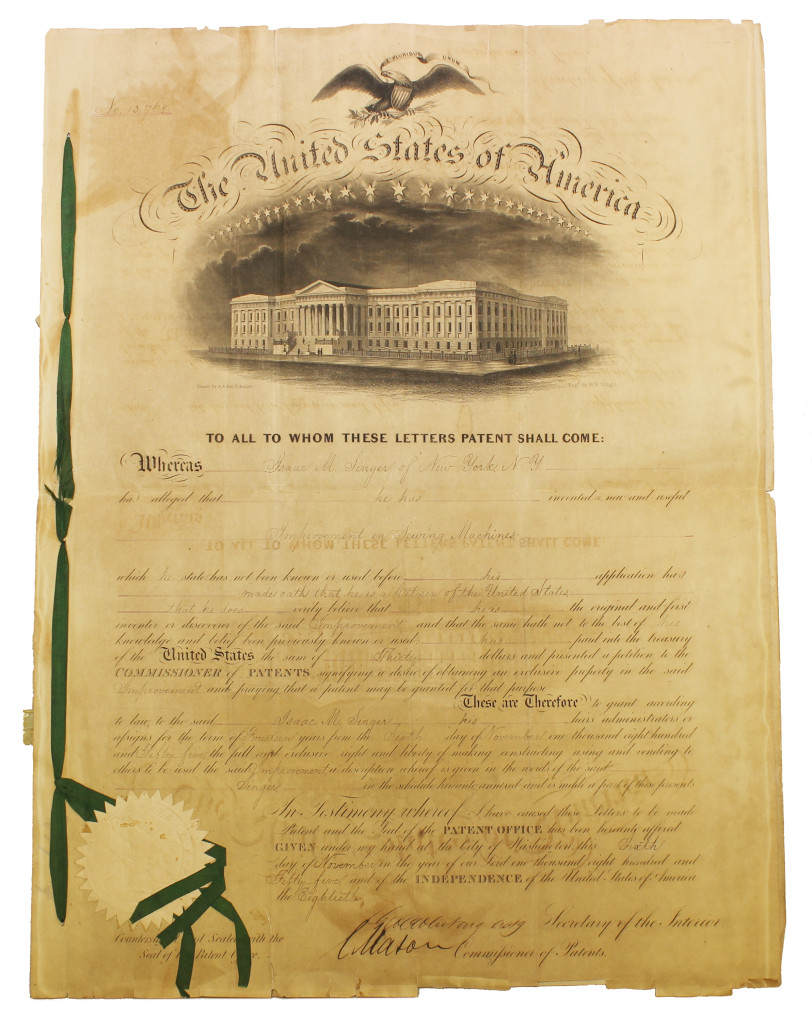 The 1855 U.S. Patent for improvements to Singer's sewing machine. Alderfer Auction Co. image