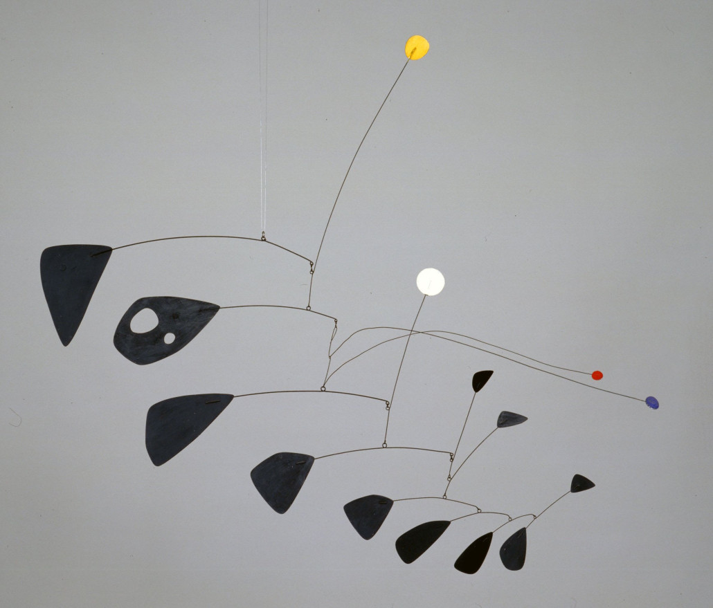 Alexander Calder, 'Antennae with Red and Blue Dots,' circa 1953, aluminum and steel wire, 111 x 1283 x 1283 mm. Tate image