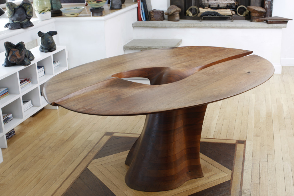 'Dining table,' 1966, by Wendell Castle, walnut, 30 x 58 x 73 inches. Courtesy of Wendell Castle and Nancy Jurs. Photo courtesy of Friedman Benda and the artist. Photo by Matt Wittmeyer