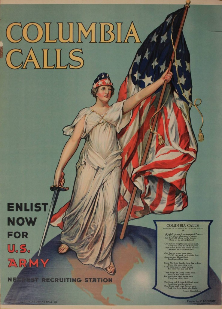 Lot 100 - V. Aderente, 'Columbia Calls Enlist Now for US Army ,' original poster printed USA . Estimate £150-£250. Onslows Auctioneers image