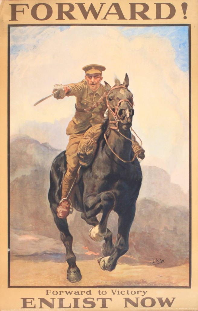 Lot 141 - Lucy Kemp-Welch (1869-1958), 'Forward ! , Forward to Victory Enlist Now ,' original Parliamentary Recruiting Committee poster No 133 printed by David Allen September 1915. Estimate £800-£1,200. Onslows Auctioneers image