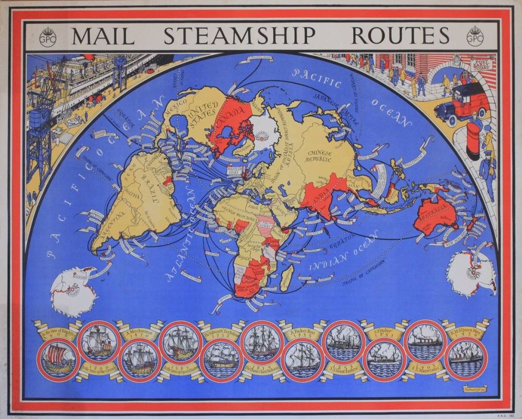 Lot 212 - MacDonald Gill (1884-1947), 'Mail Steamship Routes ,' GPO poster PRD 182, 1937. Estimate £800-£1,200. Onslows Auctioneers image