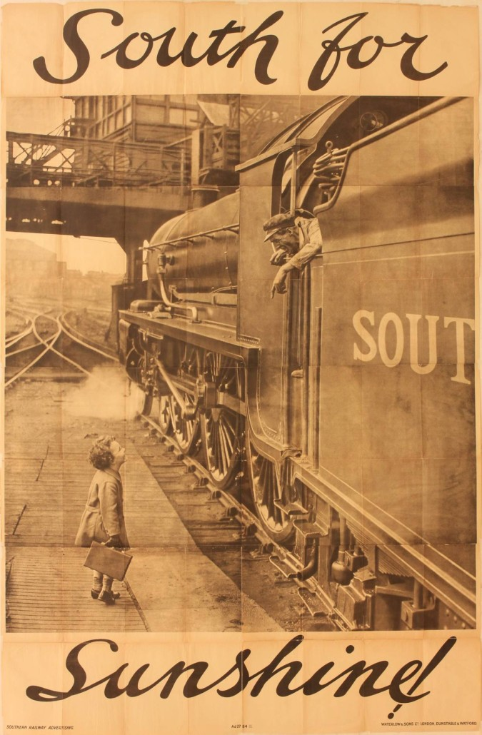 Lot 351 - Charles E. Brown (1896-1982), 'South for Sunshine ,' original posters Ad2784 printed for Southern Railway by Waterlow 1934 . Estimate £1,800-£2,200. Onslows Auctioneers image