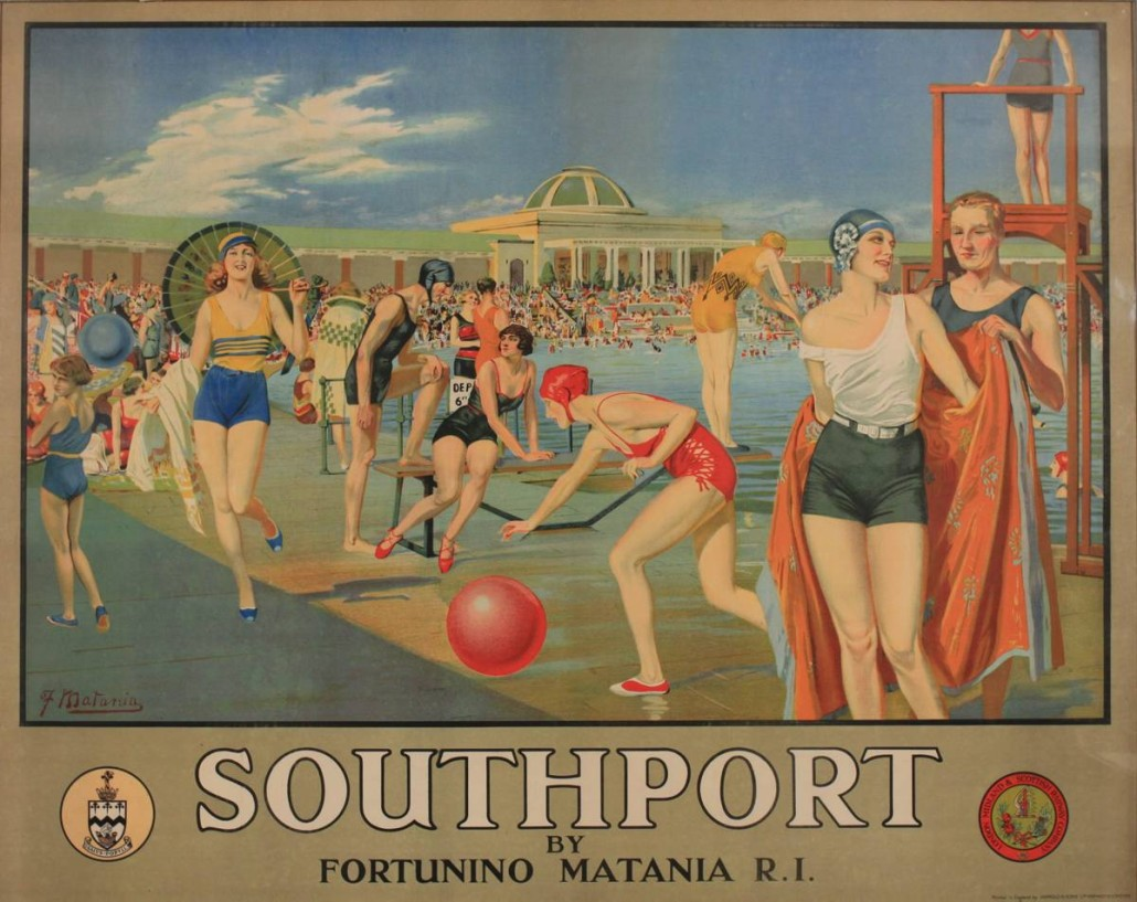 Lot 356 - F. Matania (Fortunino 1881-1963), 'Southport ,' (Lido), original poster printed for LMS by Jarrold c.1930. Estimate £6,000-£9,000. )nslows Auctioneers image