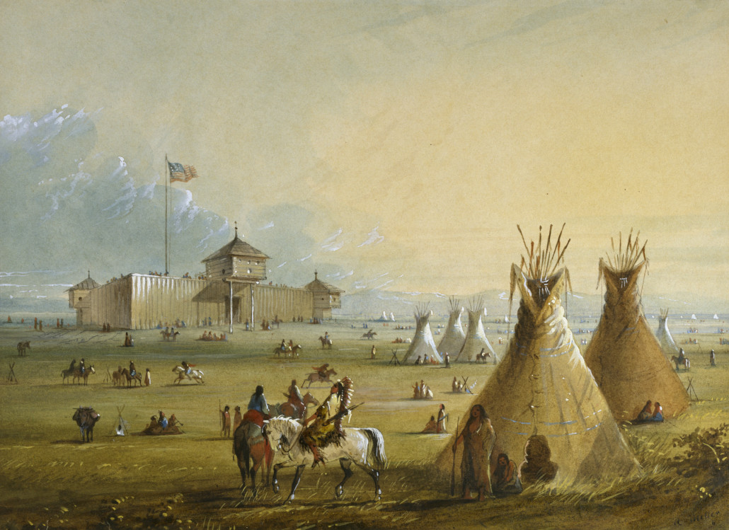 The first Fort Laramie painted from memory by Alfred Jacob Miller (1810-1874), circa 1858-1860. US public domain image
