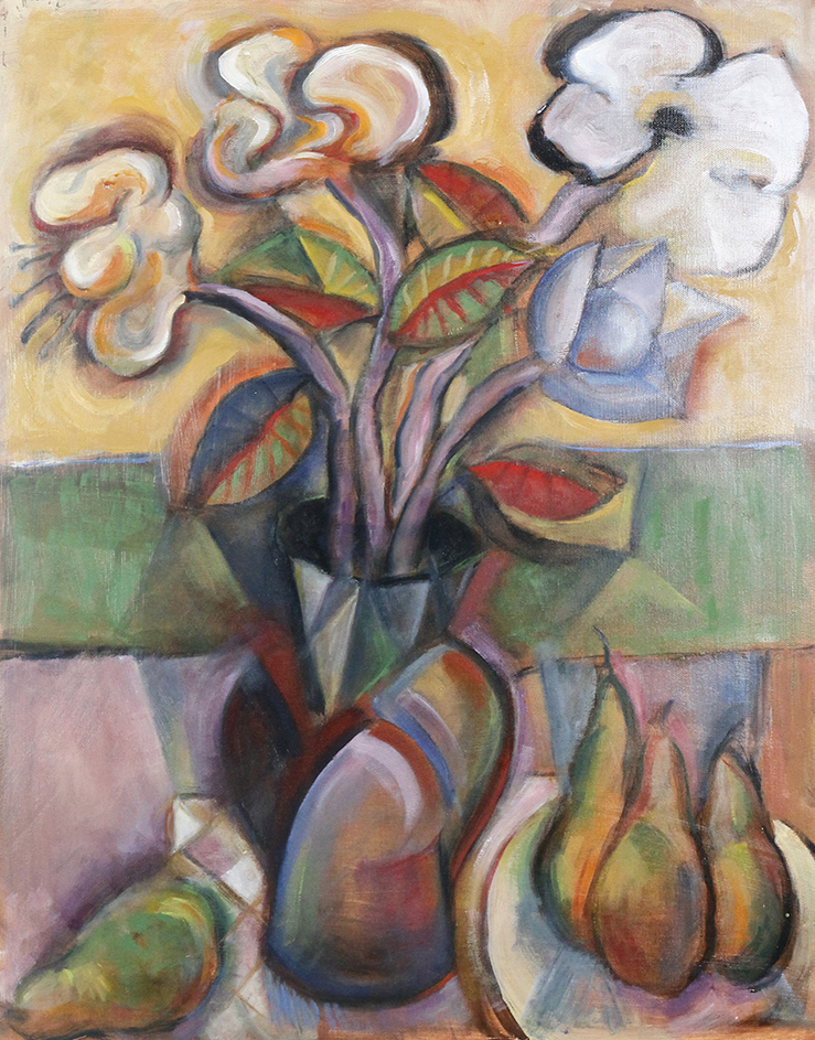 "Bob Guccione (American 1930-2010), 'Still life with pears,"" oil on canvas. BFA Auction image"