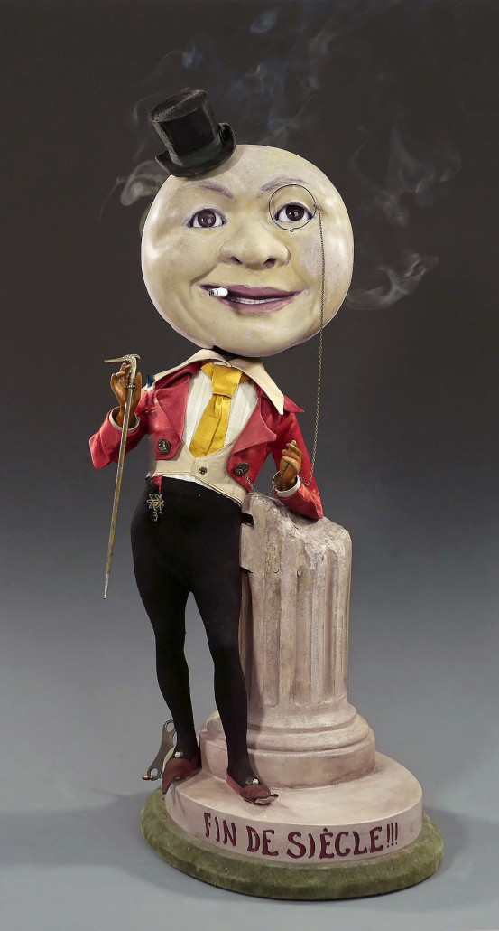 The famous moon-faced gentleman with monocle and walking stick is a smoking automaton created by Gustave Vichy in 1891. It brought 135,000 euros ($147,000). Photo courtesy Auction Team Breker