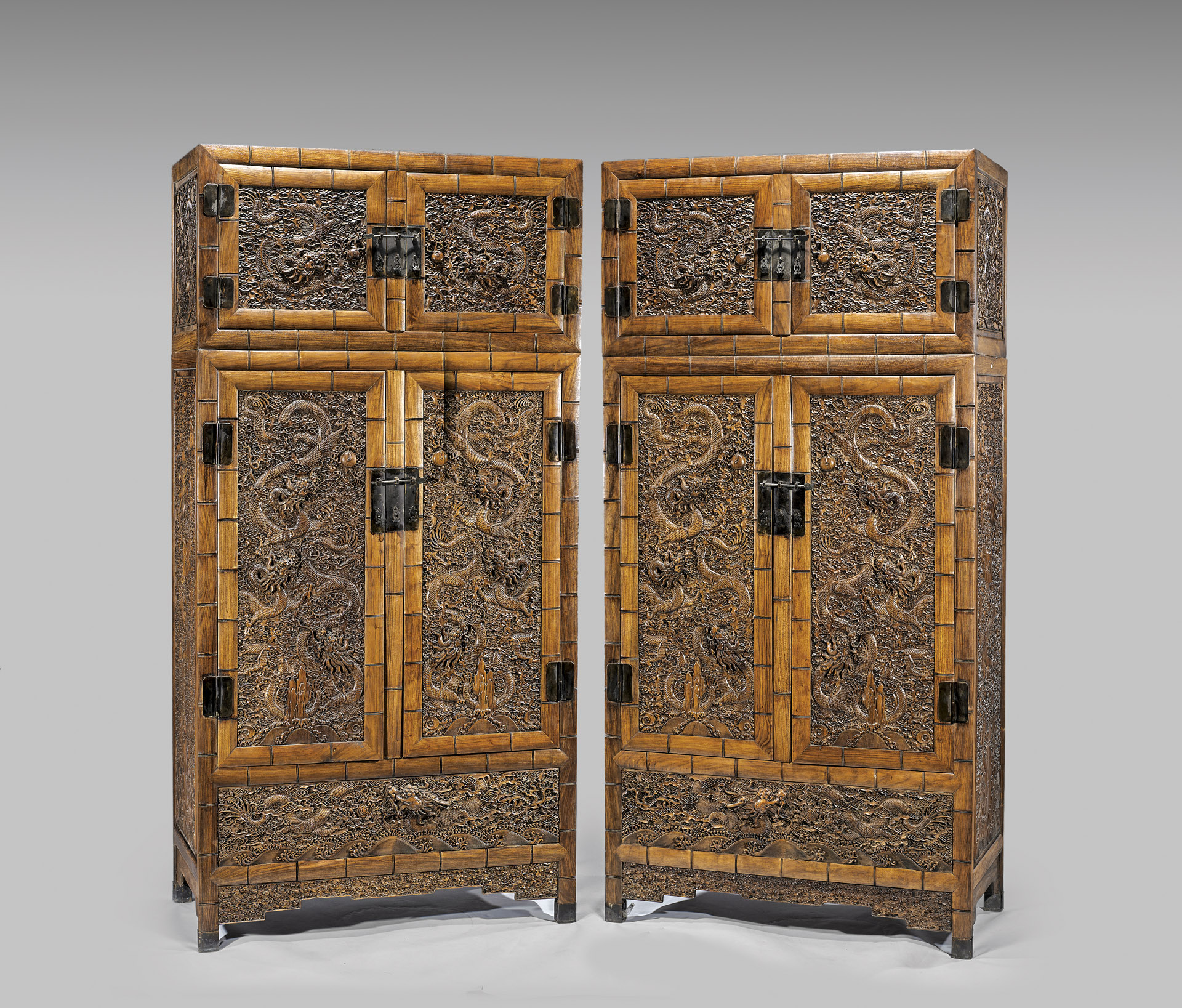 Merveilleux Although Not Antique, This Pair Of Large, Chinese Ming Style Huanghuali  Stacked Wood
