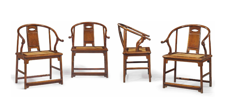 This important set of four huanghuali horseshoe-back armchairs, Ming Dynasty, 17th century, sold at Christie's New York in March 2015 for $9,685,000. The elegant chairs were among the 'Masterworks' in the renowned collection of Robert Hatfield Ellsworth, who had acquired them before 1971. Courtesy Christie's New York