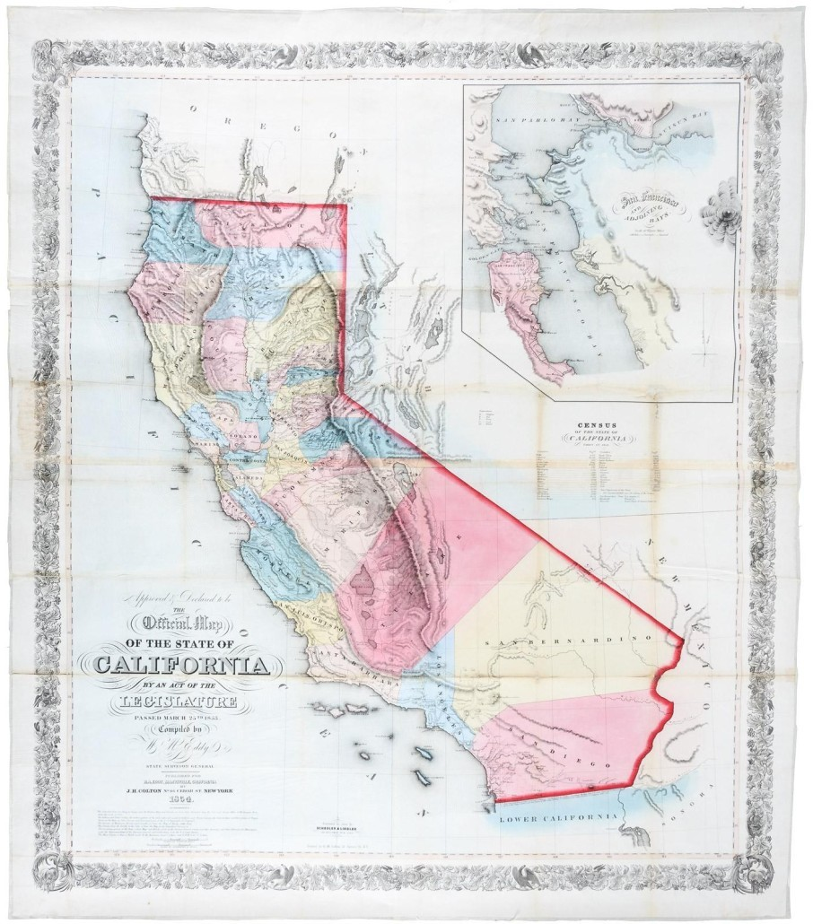 Map Of California During Gold Rush.Buyer Stakes Claim On 39 000 Gold Rush Map At Pba Galleries