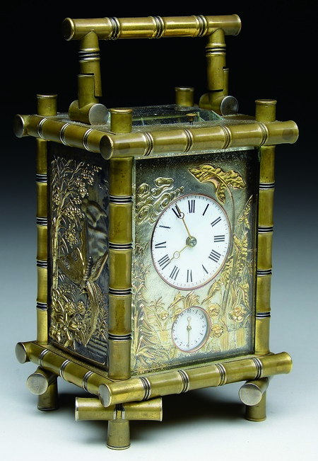 An unusual carriage clock made with Japanese-style decoration sold at an auction in Maine this year $3,355. It was made of embossed brass and glass, and was only 6 inches high. Like all carriage clocks, it had a handle so it could easily be carried on a trip in a horse-drawn carriage.