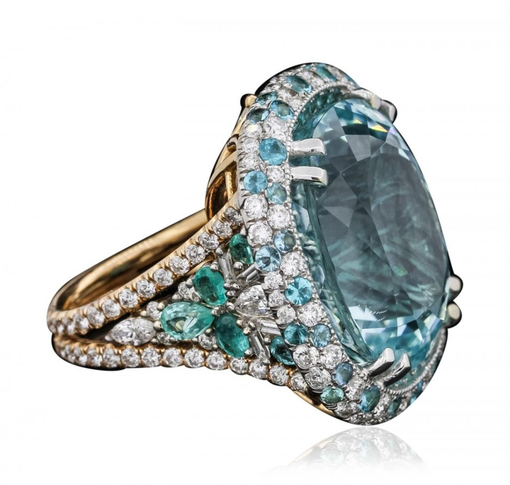 The largest rock sold on LiveAuctioneers was this 39.59 ctw Paraiba tourmaline set in an 18K two-tone gold ring, $120,000.