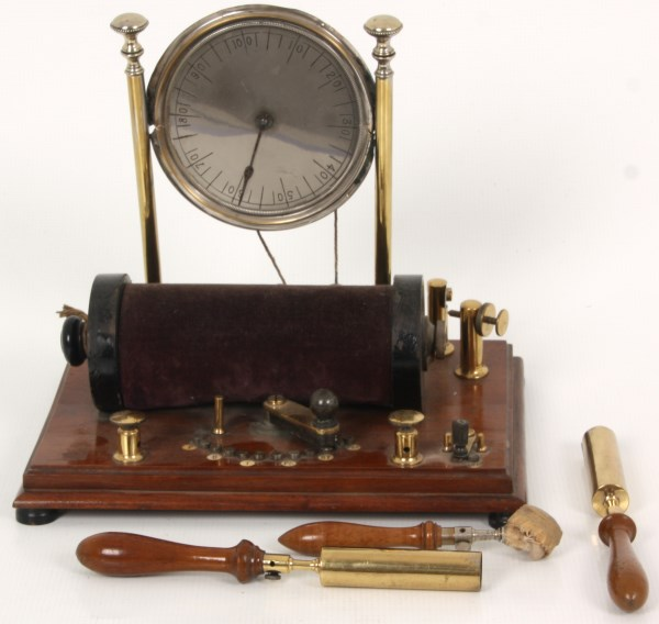 Quack medical shock machine with standing dial and paddles (est. $1,500-$2,000). Fontaine's Auction Gallery image