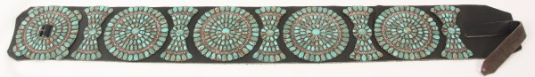 Large American Indian turquoise concho belt (est. $8,000-$12,000). Fontaine's Auction Gallery image